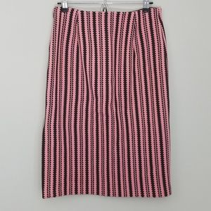 J.Crew | Black and Pink Striped Knit Pencil Skirt